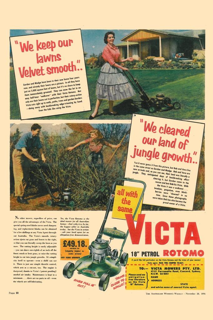 Victa Mower Ad - Australian Women's Weekly, November 1956