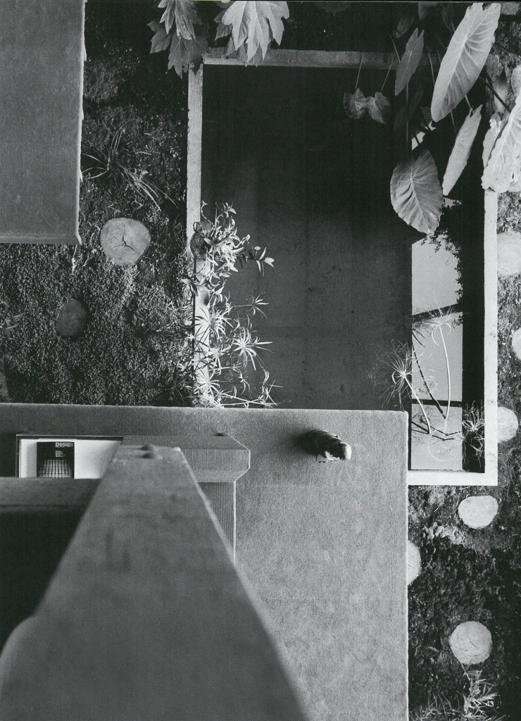 View to the garden below in the Featherston House - Scan from 'Living in Australia'