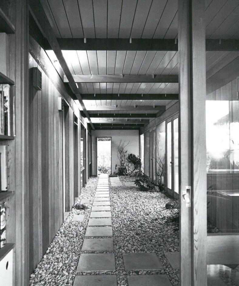 View from the front door of internal garden passage - Scan from 'Living in Australia'