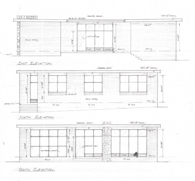 """From """"Proposed Brick Veneer Residence for Mr A F Sutherland - W Adamson Architect"""" (27.9.56)"""