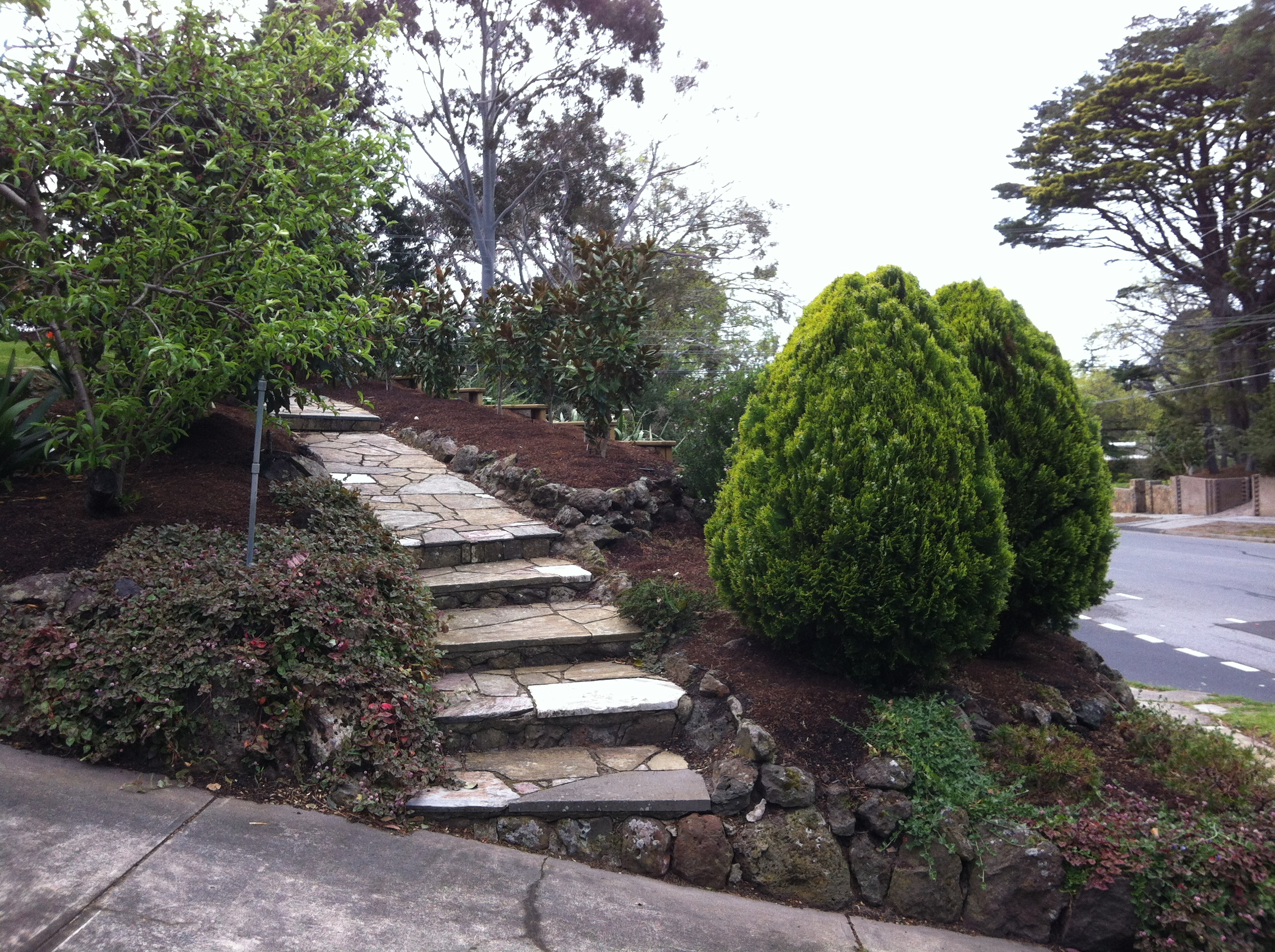 Volcanic Rock Bordering Gardens, Driveway And A Slate Path In A Beaumaris  Garden